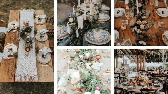 mariage bohème - Décoration de table