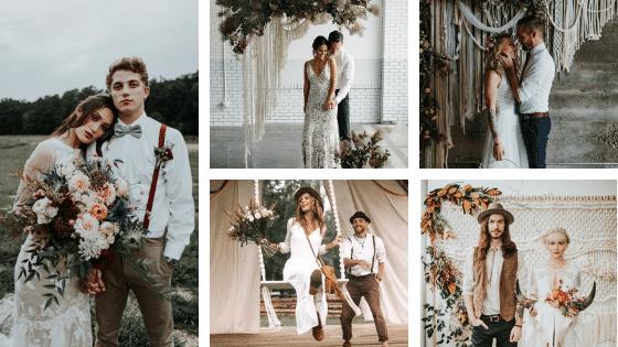mariage bohème - Les mariés